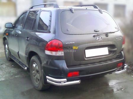 "Hyundai Santa Fe Classic 2000-2012г.в.-Защита заднего бампера ""уголки""d-60+43"